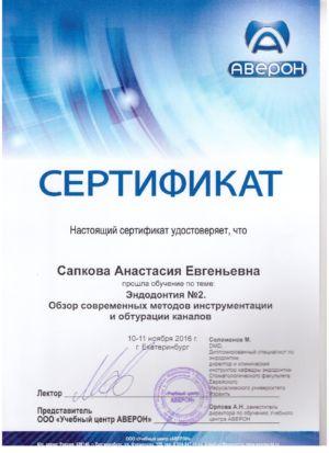 Сапкова А.Е. - сертификат №4